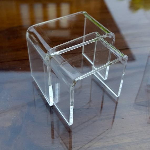 Modern Miniature CLEAR Acrylic Nesting End Table Coffee