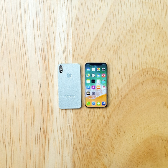 Silver and Space Gray Miniature Scale 1:6 for Dollhouse Bundle Set of iPhone X