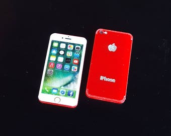 New RED IPhone 7 Miniature Scale 1:6 for Blythe Barbie Puki Lati Revoltech and similar Dolls.