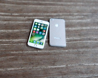 New Silver IPhone 7 Miniature Scale 1:6 for Blythe Barbie Puki Lati Revoltech and similar Dolls.