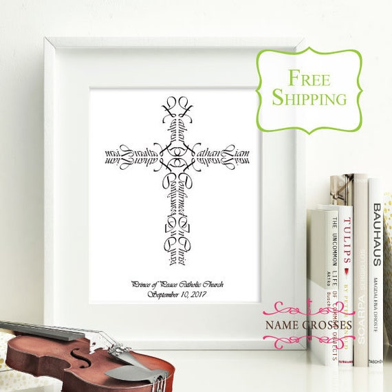 Personalized Confirmation Name Cross   5x7 print   Confirmation gift for  boys   Confirmation gift for girls   Name Cross   FREE SHIPPING