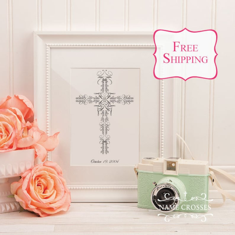 Personalized Christian Wedding Gift Unique Name Cross Christian Marriage Gift Wedding Vows Verse Couples Name 8x10 Free Shipping