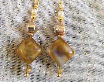 Toasted Almonds Dangle Earrings