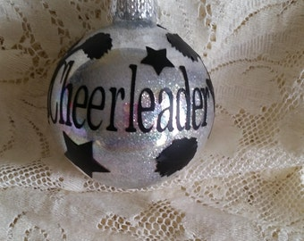 Cheerleader Personalized Glitter Glass Ornament