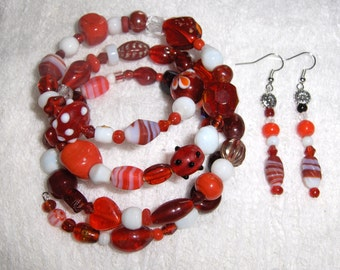 Red and White Delight Glass and Ceramic Bead Gypsy Bracelet and Earring Set