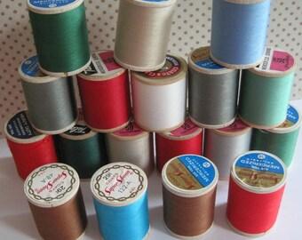18 Vintage Wooden Spools of Thread