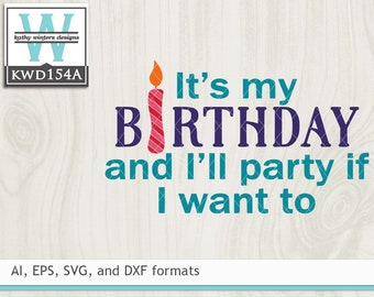 Svg Birthday Cutting File Kwd154c Etsy