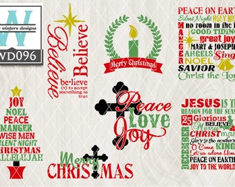 Svg Christmas Themed Cutting File Kwd046 Dxf Svg Eps Png Etsy