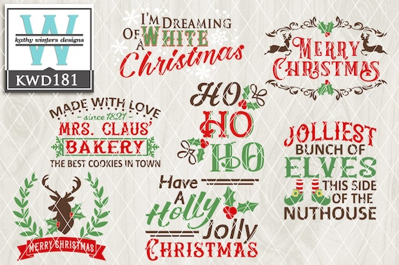 Svg Christmas Themed Cutting File Kwd181 Dxf Svg Eps Png Etsy