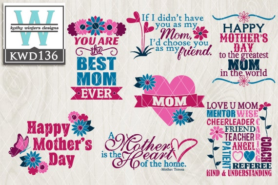 Svg Mother S Day Themed Cutting Files Kwd136 Etsy