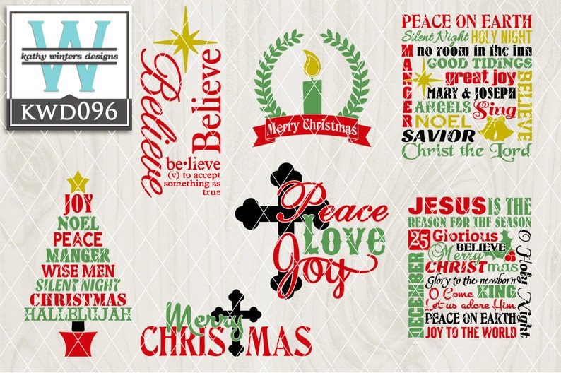 Svg Christmas Themed Cutting File Kwd096 Dxf Svg Eps Png Etsy