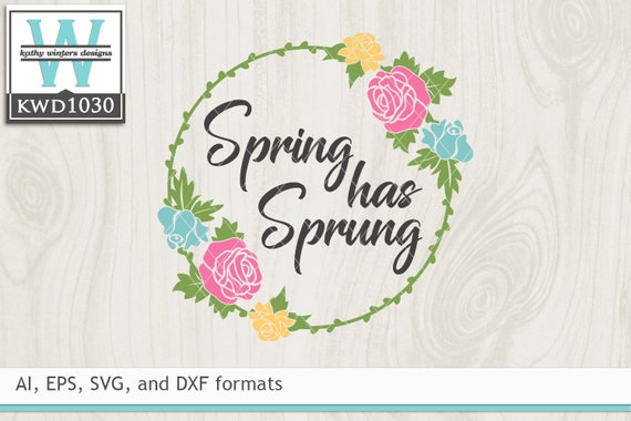 Svg Spring Cutting File Kwd1030 Etsy