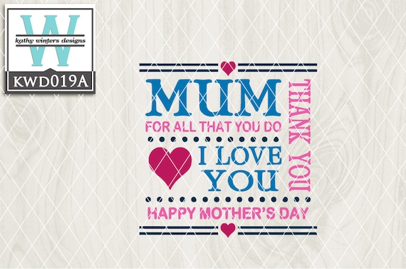 Svg Mother S Day Themed Cutting File Kwd019a 2 Etsy
