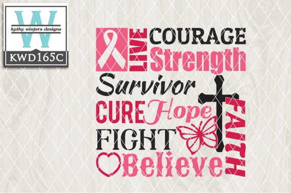 Svg Cancer Themed Cutting File Kwd165c Svg Eps Dxf Png Etsy