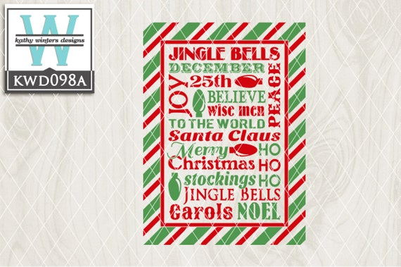 Svg Christmas Themed Cutting File Kwd098a Dxf Svg Eps Png Etsy
