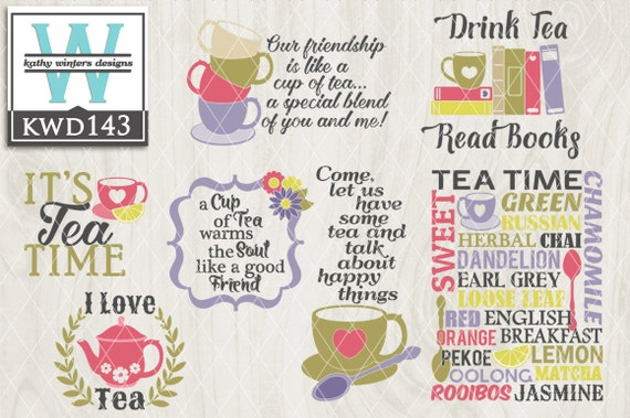 Svg Tea Themed Cutting File Kwd143 Dxf Svg Eps Png Etsy