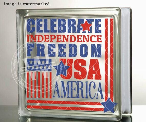 Vinyl Lettering Glass Block Decal Freedom Etsy