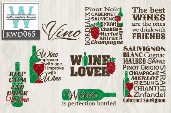 Svg Wine Themed Cutting File Kwd065 Dxf Svg Eps Png Etsy