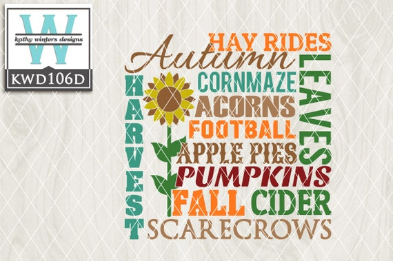 Svg Autumn Themed Cutting File Kwd106d Dxf Svg Eps Png Etsy