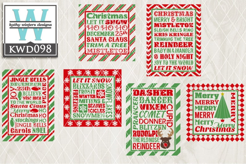 Svg Christmas Themed Cutting File Kwd098 Dxf Svg Eps Png Etsy