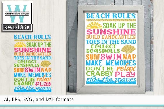 Svg Beach Cutting File Kwd186b Etsy