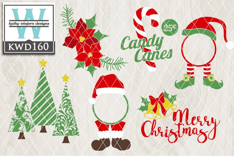 Svg Christmas Themed Cutting File Kwd160 Dxf Svg Eps Png Etsy