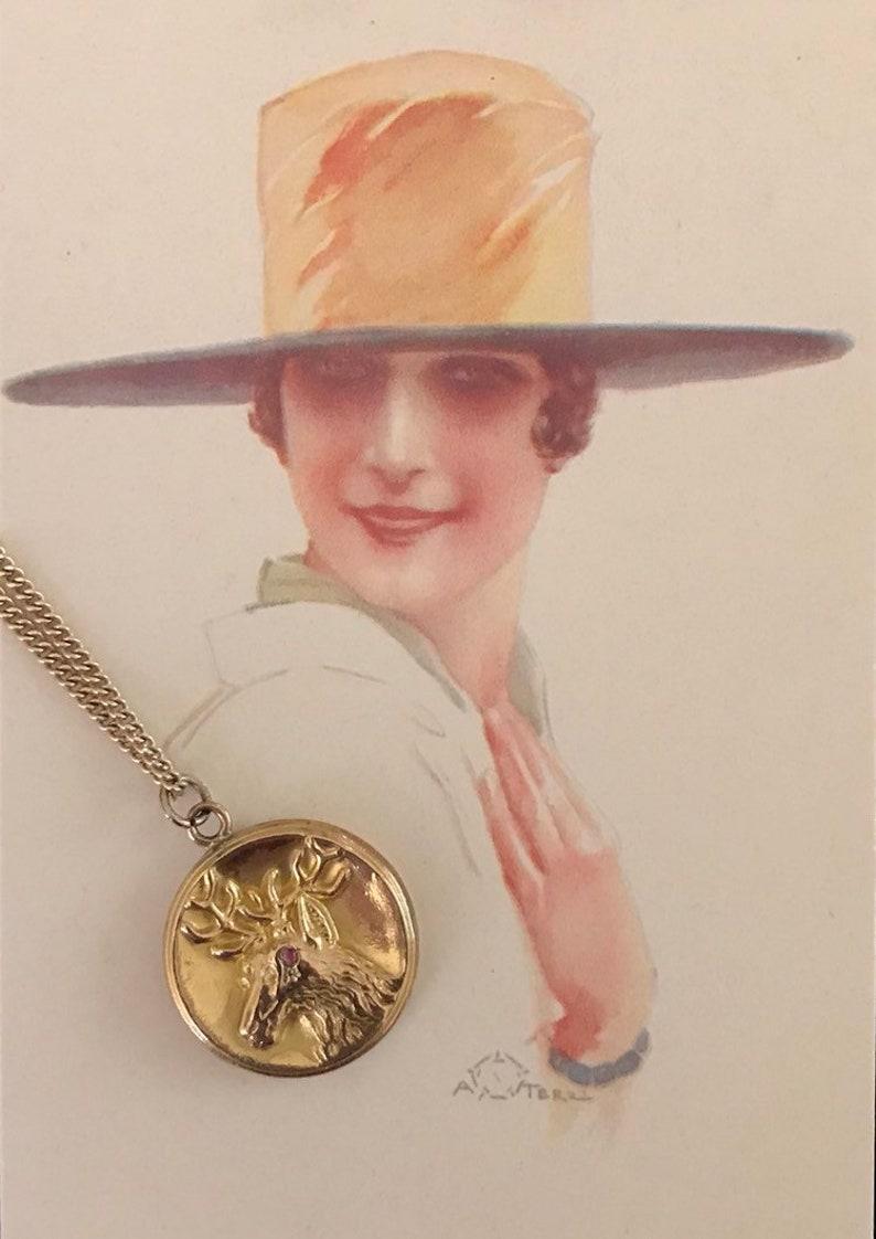 Wonderful Antique Victorian Gold Filled DeerElkStag Locket With Ruby Or Garnet Accent