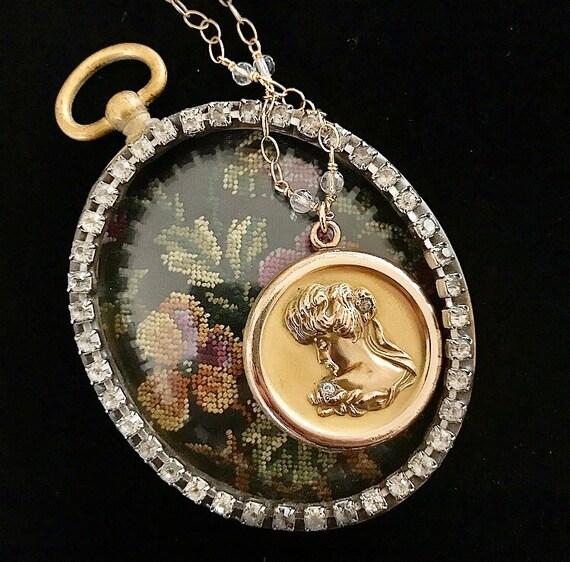 Sale! Art Nouveau Gold Filled Lady Locket Circa 19