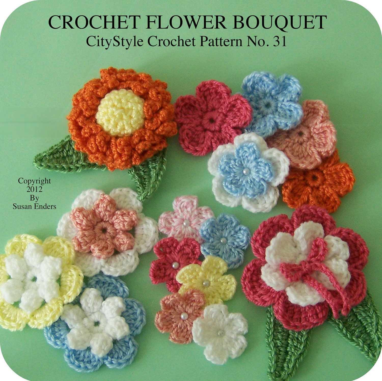 Crochet flower applique pattern crochet flowers crochet leaf etsy zoom izmirmasajfo