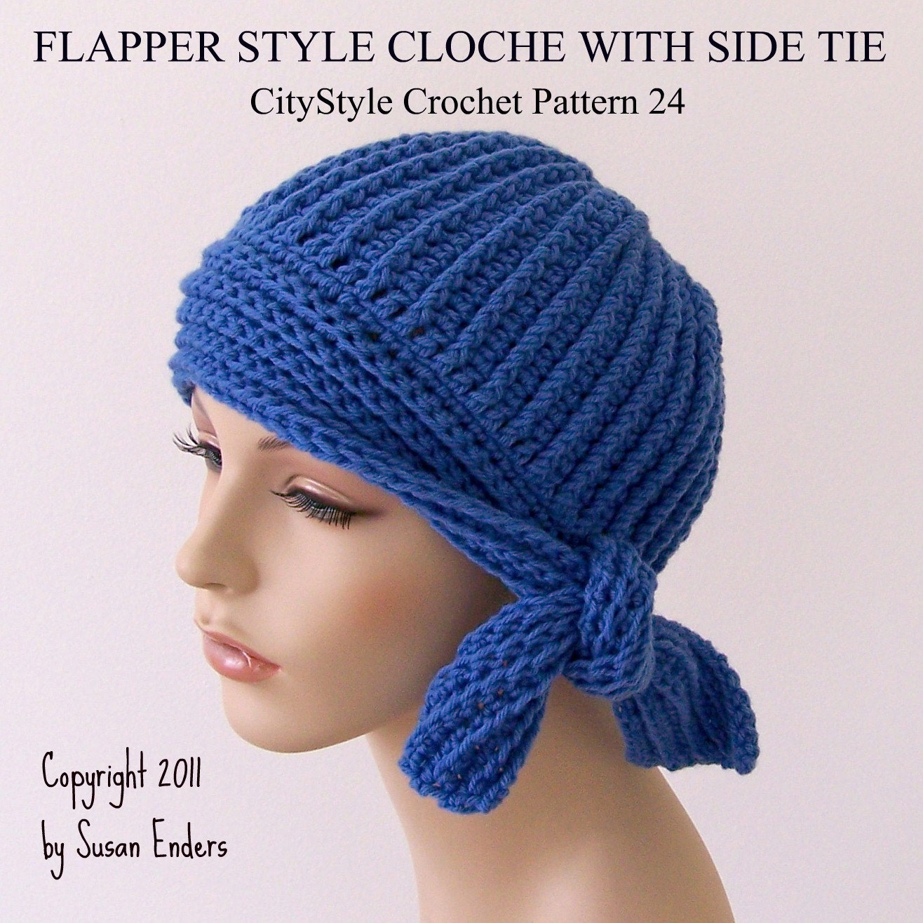 Crochet Pattern Hat Flapper Style Cloche with Side Tie Easy