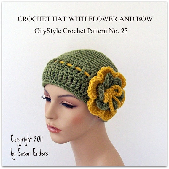 Crochet Hat Pattern With Flower And Bow Women And Teens Etsy