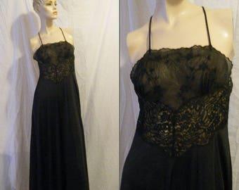 9f4573b17f Vtg 1970s 80s Lily of France black Nylon chiffon Nightgown Small Medium