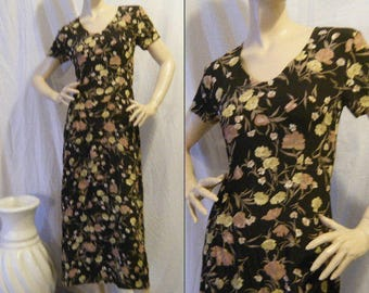 Vtg 1990s Laura Ashley Floral rayon dress small medium