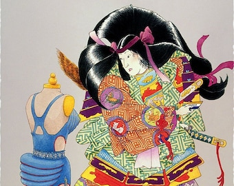 Empress Jingo Goes Shopping - by Victor Bosson, Japanese, high fashion, madonna, party, dress, shopping, art print