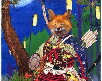 Tadanobu no Kitsune -- by Victor Bosson, fox, samurai, folk tale, kabuki, art print
