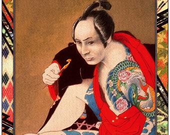 The Question - by Victor Bosson, illustration, tattoos, kabuki