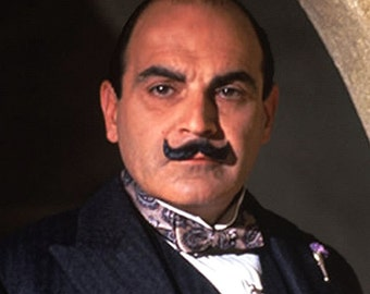 Poirot - by Victor Bosson, detective, murder mystery, digital montage art print