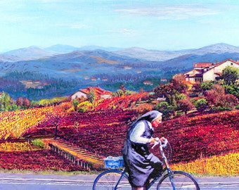 Ready To Pass - by Victor Bosson, wine, Italy, bicycle, humour, art print