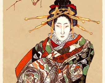 Oiwa....warm - by Victor Bosson, illustration, kimono, kabuki