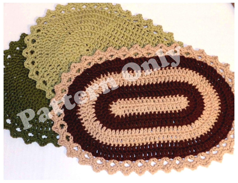 Crochet Pattern Crochet Beginners Simple Oval Placemat Or