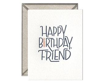 Happy Birthday Friend letterpress card