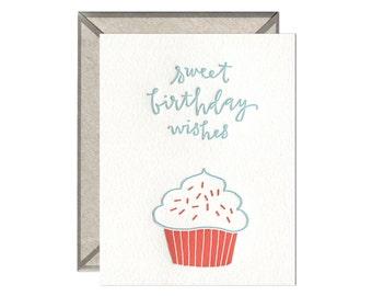 Birthday Cupcake letterpress card