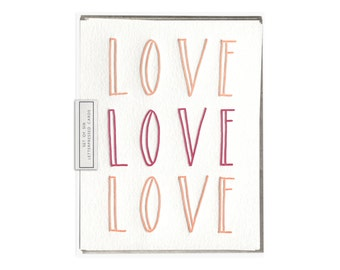 Love Love Love letterpress card - set of six