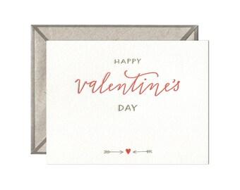 Happy Valentine's Day letterpress card - single