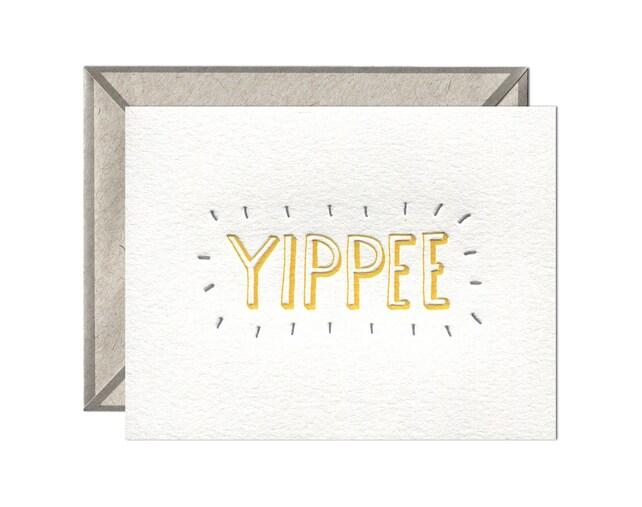 Yippee letterpress card - single