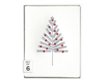 Aluminum Tree letterpress card - set of six