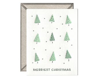 Merriest Christmas Trees holiday letterpress card