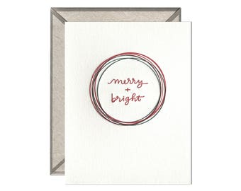 Merry + Bright Christmas holiday letterpress card