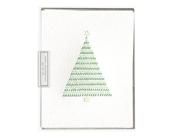 Christmas Tree letterpress card - set of six