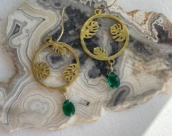 Plant Mama Green Quartz Earrings